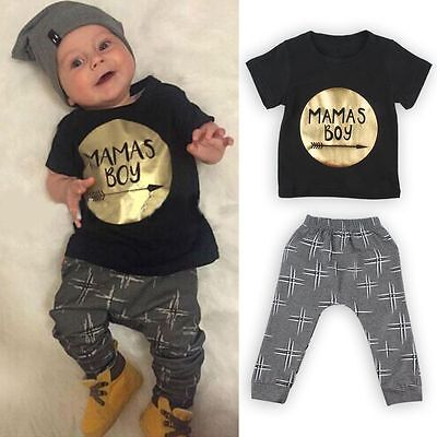 Newborn Toddler Infant Kids Baby Boy Clothes T-shirt Tops+Pants Outfits Set