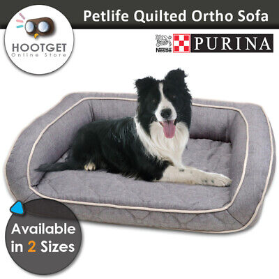 Purina Quilted Ortho Foam Memory Odour Resistant Pet Puppy Dog Sofa Bed Grey