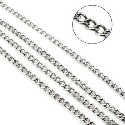 5m Stainless Steel Open Link Curb Chain 4mm x 3mm x 1mm - Silver Tone
