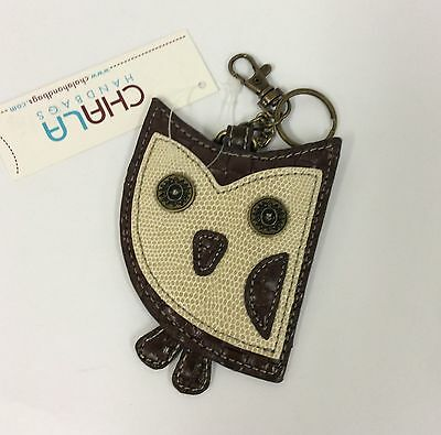 Chala Owl Key Chain Charm FOB Ring Faux Leather Coin Purse New
