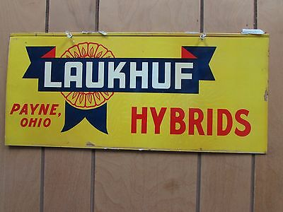 "Laukhuf Hybrids Seed Corn Sign Payne Ohio 20""x9"" Double Sided NOS"