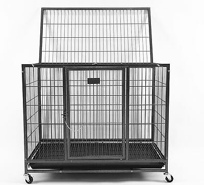 """New Homey Pet 37"""" Heavy Duty Metal Dog Pet Crate Cage Kennel w/ Castor & Tray"""