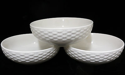 Heritage White Basketweave Cereal Dessert Bowls Set 3 Dinnerware Basket Weave
