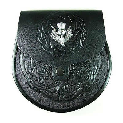 Scottish Thistle Embossed Celtic Sporran  with Stitched Flap Free Leather Straps