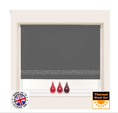 Made To Measure Diamante Trim Blackout Roller Blinds - Easy To Fit