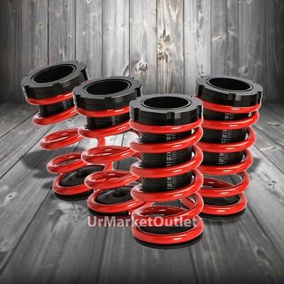 Front/Rear Scaled Black Coilover Red Lowering Spring For 95-04 Cavalier 2.2/2.4