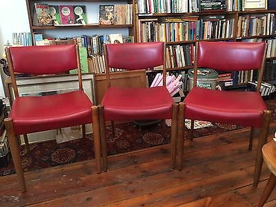 Set Of 3 Danish Style Mid Century Red Chatley Chairs Retro Vintage Australian