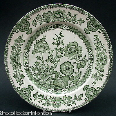 Vintage 1970's EIT Indian Tree Green Pattern Lg Size Dinner Plates 25cm in VGC