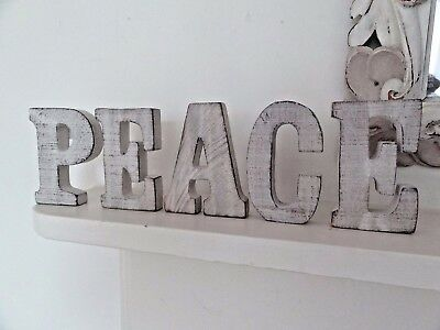 Rustic Whitewashed Wooden Freestanding Love / Home / Peace Letters Plaque Sign