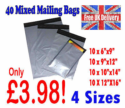 40 Mixed Mailing Bags Strong Grey Plastic Postal Postage Poly 4 Sizes LOT1001