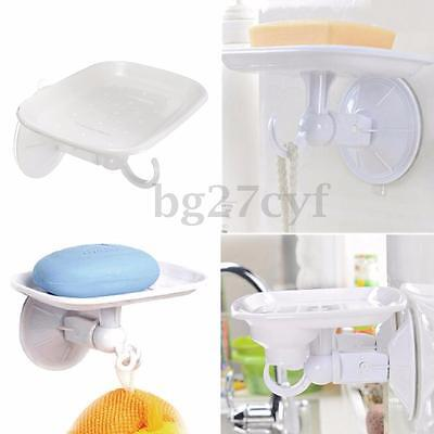 Bathroom Wall-Mounted Suction Cup Soap Dispenser Tray Dish Holder Shower W/Hook