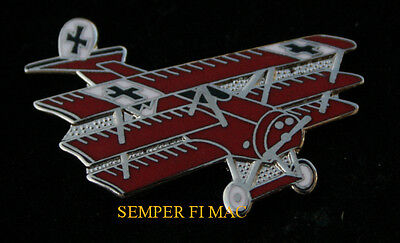 Red Baron Fokker Dr 1 Tie Tac Hat Lapel Pin Up German Luftwaffe Ww 1 Wing Pilot