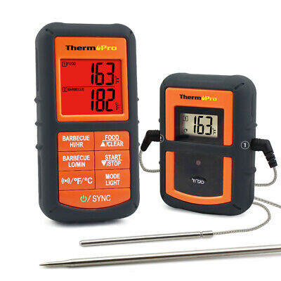 Wireless Smoker Remote Dual 2 Probe Digital Barbecue Grill Meat Thermometer