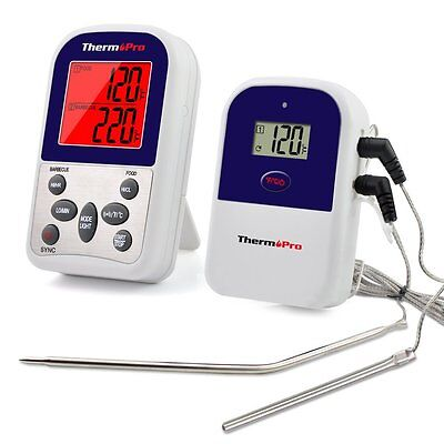 New Wireless Remote Dual Probe Meat Thermometer Set For BBQ Smoker Grill Oven