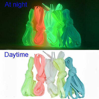 2PC Luminous Glow In The Dark Shoelace Athletic Sport Sneaker Shoe Laces Strings