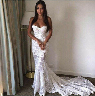 Sexy Lace White/Ivory Wedding Dress Bridal Gown Custom Size 2 4 6 8 10 12 14++++