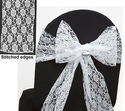 100 white Lace Chair Sash Bows Wedding Banquet Party Reception Lace Bow exp ship