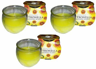 3 x PRICES CITRONELLA GLASS JAR CANDLE 30 BURN TIME