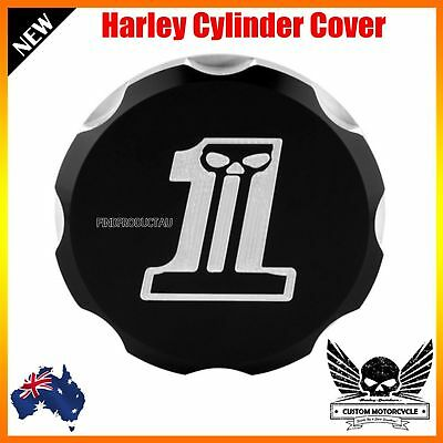 Black motorcycle Rear Brake Master Cylinder Reservoir Cover Harley XL 883 1200