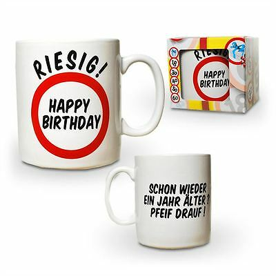 Funtasse Riesenbecher Happy Birthday Kaffee Tasse Porzellantasse