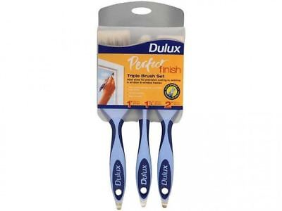 "Dulux Perfect Finish Triple Paint Brush Set 1"" / 1.5"" / 2"" - No Loss Bristles"
