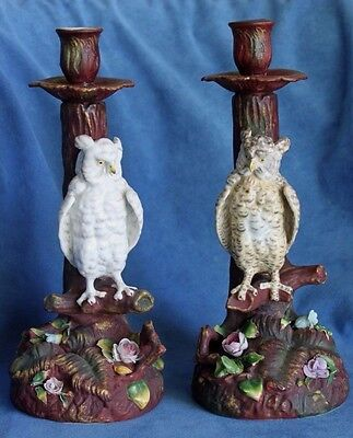Antique THURINGIA VOLKSTEDT German Dresden Large Owl Candlesticks Pair Germany