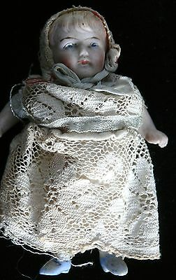 Miniature German #1 Bisque Doll In Original Clothes