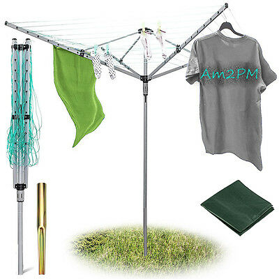 Premium Large 4 Arm 40M/50M Rotary Clothes Airer Outdoor Washing Line Dryer New