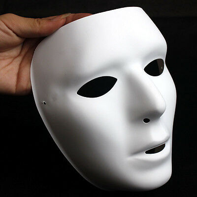 Neu Weiß Gesicht Face Glatt Maske Halloween Fasching Karneval Party Anonymous