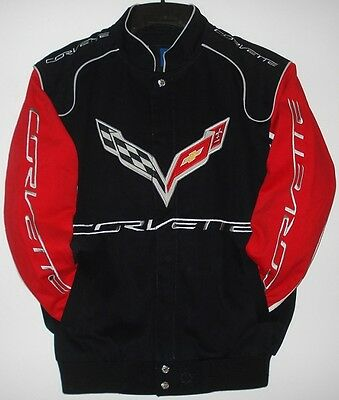 Size XL  Authentic Corvette Racing Embroidered Cotton Jacket Black Red  New XL