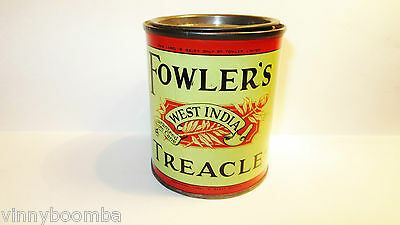 Vintage Fowler's Treacle Tin West India Pure Cane Syrup Great Britain Product !!