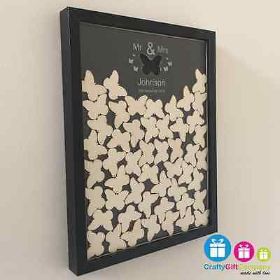 Personalised BUTTERFLY wedding drop box guest book with coloured background