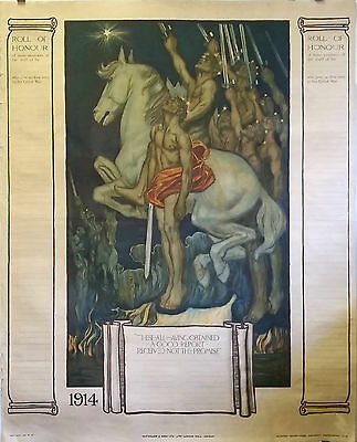 British Roll of Honour | World War I - Original 1914 Rare Lithographic Poster