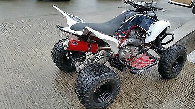 YAMAHA Raptor 700R Powder coated Red Stainless Oval ROAD LEGAL MTC Exhaust