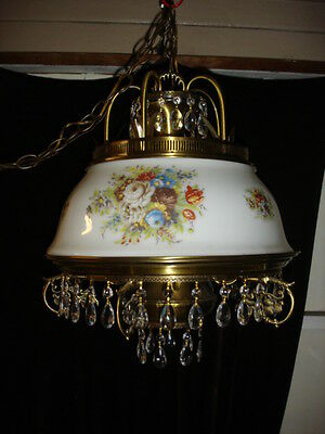 BRASS-GLASS VINTAGE French Provincial CHANDELIER WITH FLOWER MOTIVE, 6 BULBS