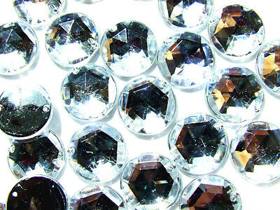 50 Crystal Clear Faceted Beads Acrylic Rhinestone/Gems 10 mm Flat Back Sew On