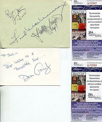 My Three Sons Cast Autograph Fred MacMurray + 3 Signed Page Card JSA Authenticat