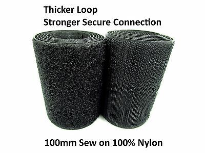 EXTRA Strong BLACK 100mm Width SEW on HOOK and LOOP Tape STRAP ~100% Nylon~