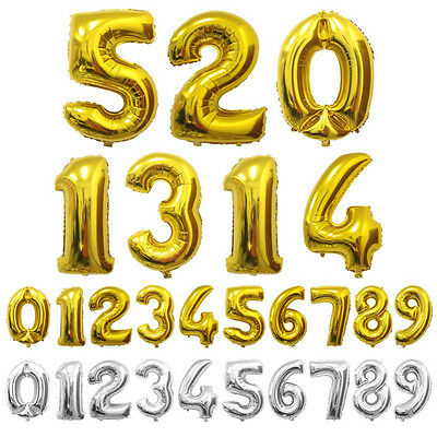 Foil Number Balloon 40 Inch Large Helium Number Balloon 0-9 In Gold And Silver