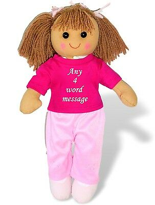 Personalised Rag Doll Bridesmaid Flower Girl Christening Birthday Baby Gift