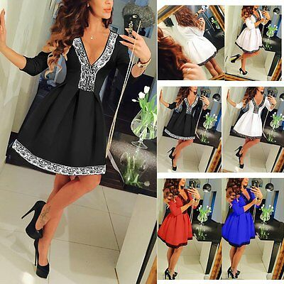 New Women Summer Casual Long Sleeve Evening Party Cocktail Lace Short Mini Dress