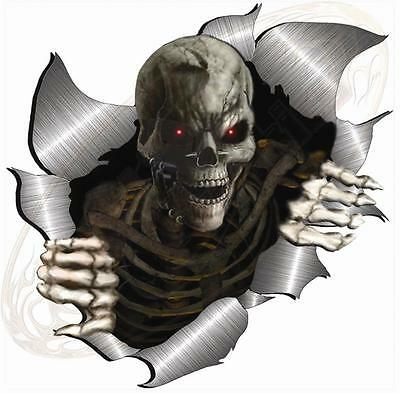 Single Metal Rip Open Torn Skeleton Skull Sticker JDM Race Car Van Bike Drift