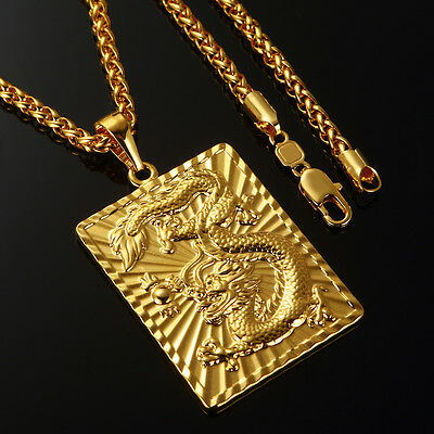 """REAL MENS 24K YELLOW GOLD FILLED DRAGON PENDANT NECKLACE CHAIN JEWELRY Gift 24"""""""