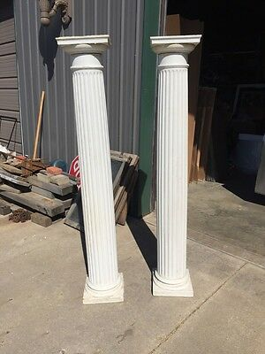One Pair Antique Fluted Painted Columns