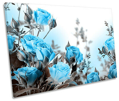 Blue Roses Flowers Floral SINGLE CANVAS WALL ART Box Framed