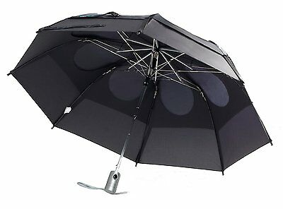 "Gustbuster Metro Dual Canopy Collapsible AUTO OPEN 43"" Umbrella Black Windproof"