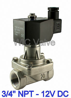 "3/4"" Inch Stainless Electric Hot Water Steam Solenoid Valve NC 12V DC PTFE Seal"