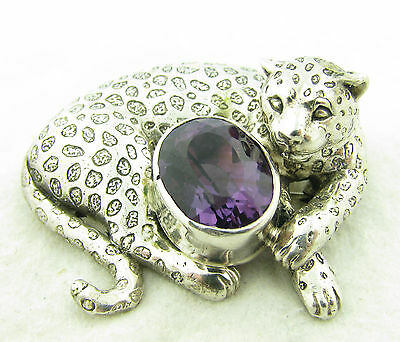 Vintag Carol Felley Sterling Silver Amethyst Leopard Necklace Pendant Brooch Pin