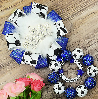 Personalised stunning pram charm in football beads baby girls boys ideal royal