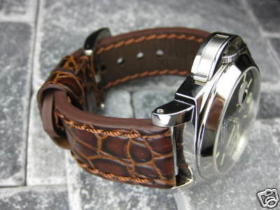 New BIG GATOR 24mm Brown LEATHER STRAP Watch Band PAM 44mm Buckle 24